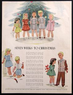 Vintage 1945 McCall Clothes Patterns for Children - 1940s Sewing Designs - Christmas Holiday Fashion Drawing - Dress Boys Girls Apparel