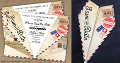 Cute Airmail Paper Plane Save the Date - perfect for a destination wedding. by In the Treehouse www.inthetreehouse.co.uk