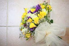 Wedding brides bouquet- yellow purple white. Photography by Sara callow