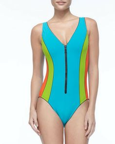 Karla Colletto Tricolor Front-Zip One-Piece on shopstyle.com