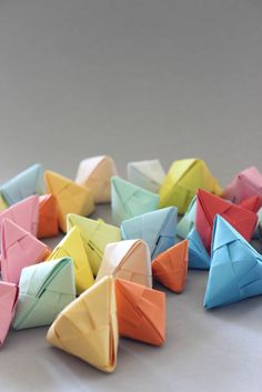 DIY sonobe pyramids -I think these would make brilliant acts of kindness I'm going to make some and fill them with some motivational quotes, compliments and just generally awesome shit, ie. little toys, bouncy balls etc