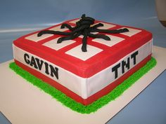 How about a Minecraft cake to start our Tuesday morning? (For those of you out of the loop like me, Minecraft is a video game. ) Gavin's 6th birthday party was all things Minecraft, so we created this TNT cake based on the graphics in the game. Happy Birthday, Gavin!!