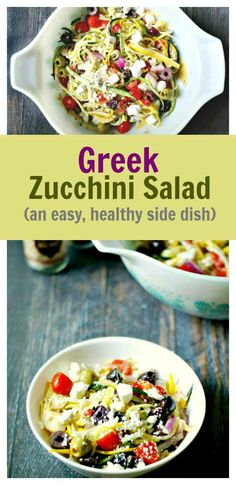 Greek Zucchini Salad - this healthy salad is a delicious pasta free dish. Perfect for a picnic!