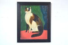Folk Art Cat Painting  Mid Century Modern Vintage by GalaxieModern