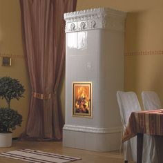 Bilderesultat for tiled stove Stove, Curtains, Living Room, Wood, Design, Fours, Home Decor, Fireplaces, Crown