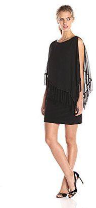 Xscape Women's Fringe Hem Chiffon Overlay Dress $46.90 thestylecure.com