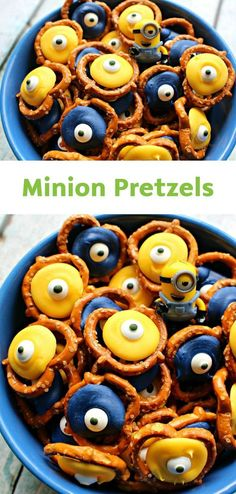 Celebrate your kid's next birthday with these Minion-Themed Pretzels and Minion Print Bounty Paper Towels. All you need are candy eyes, yellow and blue candy melts, and pretzels to make this tasty and adorable treat!