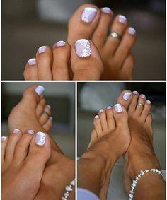 French Pedicure Designs Glitter Toe Wedding Nails Ideas For 2019 Summer Pedicure Colors, Summer Toe Nails, Summer Pedicures, Beach Toe Nails, Simple Toe Nails, Pretty Toe Nails, Fancy Nails, Toe Nail Color, Toe Nail Art