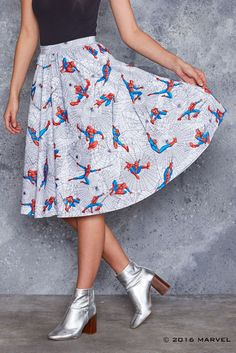 My spider sense is tingling! This fleece-lined midi skirt is super sweet and totes work-appropriate. Man Skirt, Latest Fashion For Women, Womens Fashion, Work Tote, Black Milk Clothing, Disney Outfits, Disney Clothes, Skirt Fashion, Everyday Fashion