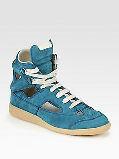 Maison Martin Margiela Cutout Leather High Top Lace-Up Sneakers