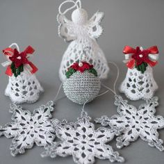 Crochet Christmas set of 6 ornaments White silver ornaments
