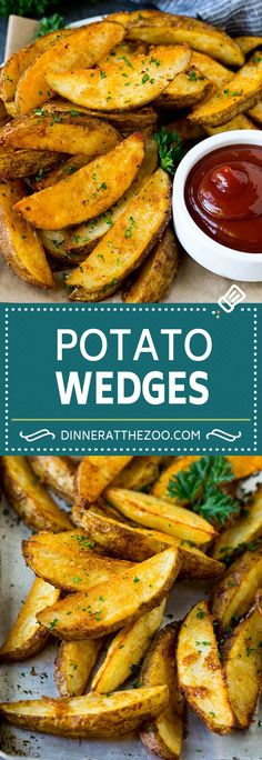 These crispy baked potato wedges are coated in seasonings and cooked in the oven to golden brown perfection! These baked fries are the perfect side dish. Potato Wedges Recipe, Potato Wedges Baked, Baked Potato, Homemade Potato Wedges, Seasoned Potato Wedges, Homemade Fries, Best Side Dishes, Side Dish Recipes, Potato Recipes