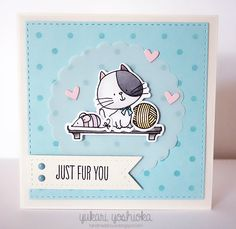 """Card square cat kitten cats yarn shelf mouse toy, MFT I Knead you Die-namics Simon Says Stamp Wednesday Challenge: """"Just Fur You"""" cat card by Handmade by Yuki Dog Cards, Kids Cards, Make Your Own Background, Invitation Fete, Tarjetas Diy, Mft Stamps, Animal Cards, Copics, Paper Cards"""