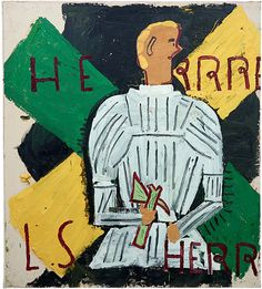 Rose Wylie - Herr Rehlinger In White Armour, 2014 - courtesy the artist, Union Gallery London and Choi&Lager Galerie, Cologne