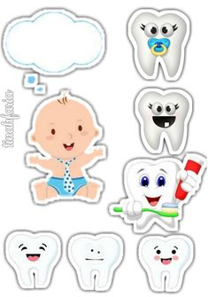 Tooth Clipart, Tooth Cake, Dental Kids, First Tooth, Aesthetic Stickers, Baby Shark, Cake Toppers, Cute Pictures, Free Printables