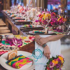 Vibrant colors for Abbey & Will's #wedding. We love this  #mexicanmodern #weddingstyle  www.vividoccasions.com Photos by Dino Gomez  #weddingideas #weddingdecor #weddingflowers #weddingdetails #cabowedding #beachwedding #destinationweddingplanner #destinationwedding #mexicoweddingplanner