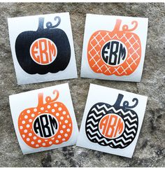 Pumpkin Monogram Decal Sticker Autumn Fall by OopsieDaysi on Etsy Halloween preppy monograms car decal sticker southern personalized silhouette cricut