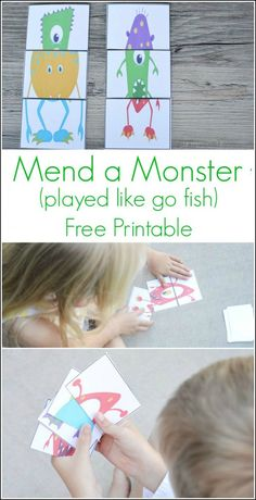 This is such a cute game. Played like go fish, but they have to find 3 of the same monster to get a match! Print the cards for FREE at OurThriftyIdeas.com