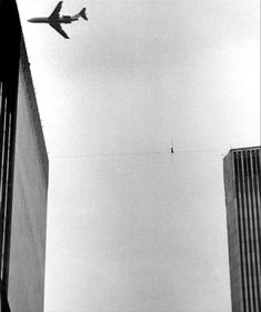 "vintage everyday: 'After a few steps, I realised the wire wasn't well rigged but thought, ""It's safe enough""' – Shocking Images of Philippe Petit's Twin Towers Tightrope Walk, 1974"