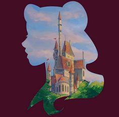 Belle and Beast Castle available in my shop, link. - Art Of Urbanstar Disney Princess Art, Disney Princess Pictures, Disney Fan Art, Disney Pictures, Disney Love, Disney Princesses, Disney Belle, Disney Castle Drawing, Disney Drawings