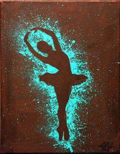 Not the dancer silhouette but the color splash outline idea I love! Ballerina Silhouette, Dance Silhouette, Silhouette Painting, Couple Silhouette, Ballerina Kunst, Ballerina Painting, Dancing Drawings, Art Drawings, Oil Pastel Drawings
