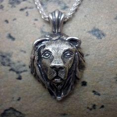 Lion head pendant charm silver 14k gold stylized handmade wild animal jewelry USA best – All Animal Jewelry & Jan David Design Jewelers
