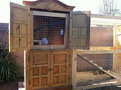 Chicken coop made from armoire.