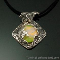 Fine Silver Pendant Floral with Dichroic Glass Pendant; $210