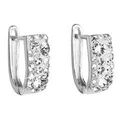 Stříbrné náušnice visací s krystaly Swarovski bílý půlkruh 31123.1