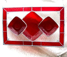 Ruby Red Stained Glass Plate Panel with 1930s by HeritageDishes, $99.95