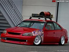 stanced jdm honda civic ek coupe with stickerbomb and roof racks   JDM Car Mods