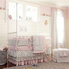 Pink and Gray Chevron Crib Bedding on Wanelo