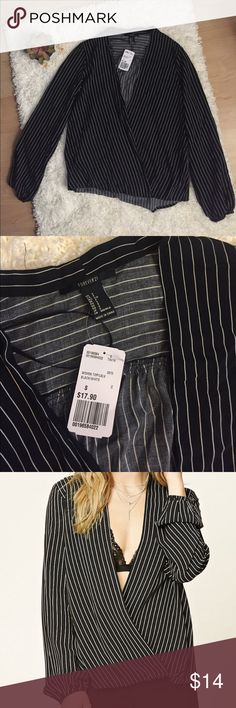 NWT Striped Surplice Cross V-Neck Long Sleeve Top Brand new with tags. Forever 21. Size Small. Black and white stripes. 100% rayon but feels similar to linen.   Tags: Madewell, Ann Taylor LOFT, Anthropologie, J.Crew, Banana Republic, Urban Outfitters, American Eagle, Free People, Nordstrom, Forever 21, H&M, American Apparel, Zara, Topshop, Brandy Melville Forever 21 Tops Blouses