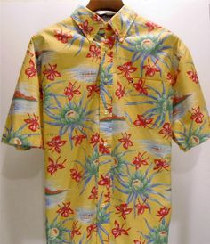 7b9092c5 Tommy Hilfiger Hawaiian Shirt Button Front Large Hibiscus Water Lily Boat # TommyHilfiger #ButtonFront Mens