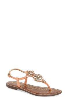 This breezy sandal from Sam Edelman is a summer must-have! A crystal flower embellishment adds just the perfect amount of glitz.