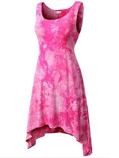 Fashionmia - Fashionmia Asymmetric Hem Tie/Dye Mini Shift Dress - AdoreWe.com