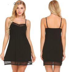 Buy Women Strappy Sleepwear Lace V-Neck Nightgown Slip Lingerie Dress  Summmer Sexy Female Sleepshirt d1c602963