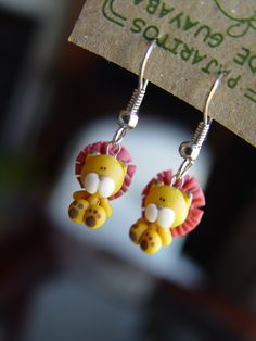 Polymer clay Lion earrings