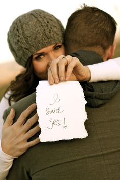 I said yes! note. Could be a blank and fill in save the date... swap hand placement to show off ring.