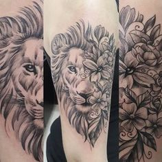 I like the idea of the flowers on half/part of the lion's face, but not the style of this tattoo.