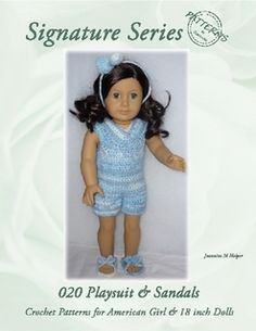 020 Outdoor Playsuit with Summer Sandals Crochet Pattern for American Girl and other 18 inch dolls