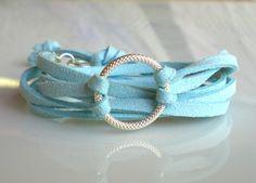 Boho Wrap Bracelet Baby Blue Suede Bracelet Silver by KesTdesigns, $12.00