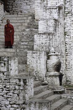Monastery steps . Bhutan