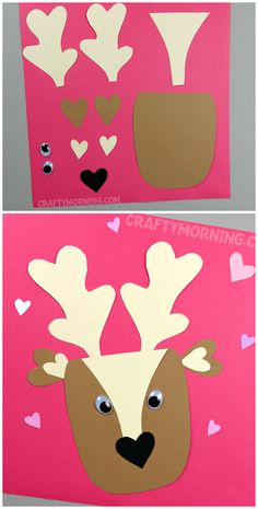 Valentine Deer Craft - Such a cute heart shape animal craft for the kids to make on Valentine's Day! Could make a doe too.