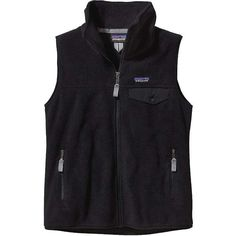 Patagonia Women's Snap-T Vest ($99) ❤ liked on Polyvore featuring outerwear, vests, black, black zipper vest, patagonia vest, vest waistcoat, zip vest and black waistcoat