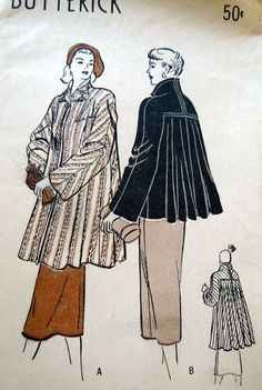 LOVELY VTG 1940s FLARE BACK COAT BUTTERICK Sewing Pattern 14/32
