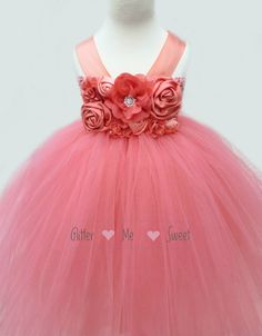 Coral Flower Girl Dress Coral Tulle Dress by GlitterMeSweet