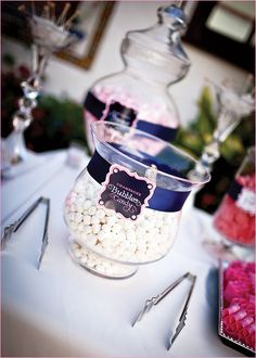 Like the custom look of the bands around the jars and vases!