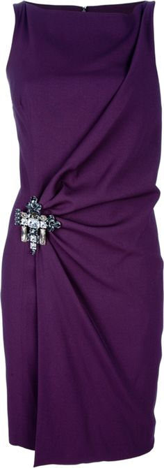 Purple dress from DSquared2 featuring a cowl neckline, a sleeveless cut, a wrapover effect front with a jewell effect embellished brooch fastening at the waist, draped detail to the side and a plain back.