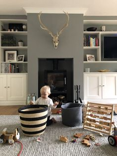Farrow & Ball Paint Colours in My Home – Just A Little Build – Livingroom WOW – Living Room Ideas Living Pequeños, Cottage Living Rooms, Living Room Grey, Living Room Interior, Home Living Room, Living Room Furniture, Modern Living, Modern Furniture, Small Living